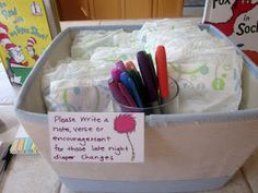 This is actually a really cute idea. A good way to keep mom encouraged when she's been sleep deprived for months. ;)