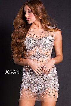 49dcc32c Silver Nude Sheer Embellished Sleeveless Cocktail Dress 39825 #ShortDress  #PartyDress #GoingOutDress #Jovani