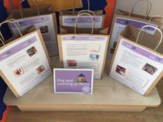 Trafford nursery's play and learning at home bags display Family Engagement, Bag Display, Trafford, Home Learning, Pre School, Infants, Nursery Ideas, Parents
