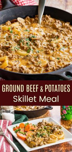 Cheesy Skillet Ground Beef and Potatoes Recipe - creamy comfort food for a modern and fresher twist on a classic meat and potato one pan meal. The family will love this easy weeknight dinner. recipes with ground beef Hamburger And Potatoes, Meat And Potatoes Recipes, Ground Beef And Potatoes, Kale Chip Recipes, Skillet Potatoes, Hamburger Meat Recipes, Ground Beef Potato Casserole, One Pan Dinner Recipes, Dinner Recipes Easy Quick