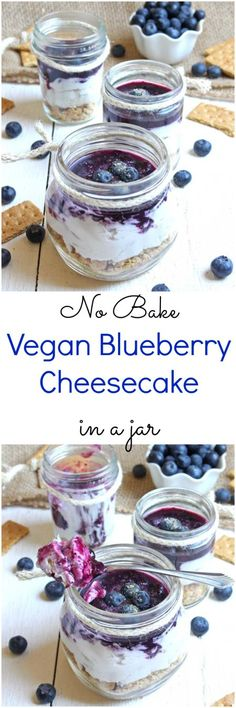 This Memorial Day celebrate in patriotic style with these simple No Bake Vegan Blueberry Cheesecake Jars. Dairy-free and vegan with no refined sugars or gluten, this no bake vegan blueberry cheesecake is sure to be the star of the party!
