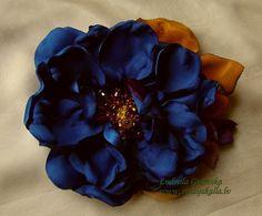 Handmade dark blue satin flower brooch flower clip by Studijakalla, $32.00