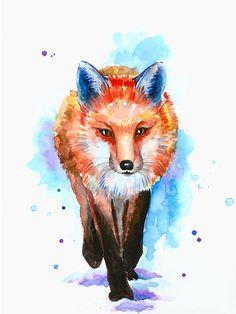 Fox watercolor print colorful fox wall art fox painting fox