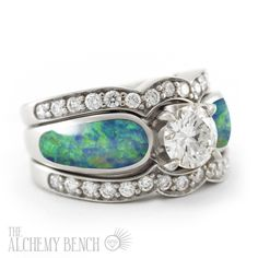 Unique opal engagement ring with a one carat center diamond and two fitted diamond bands. | The Alchemy Bench #BridalTransformed