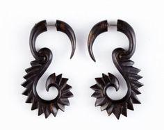 """Fake Gauge Earrings - Wood Tribal Earrings Fake Piercing - Organic Iron Wood """"Furry Vines"""" Earrings - SUPER SALE"""