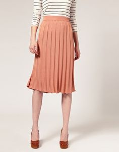 white grey stripe with pale coral skirt (not pleated)