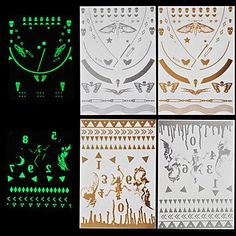 HJLWST 4pcs Body Art Temporary Tattoos Gold Silver Halloween Night Shining Luminous Flash Metallic Sticker Jewelry Waterproof *** You can get more details by clicking on the image.