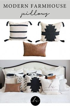 Modern farmhouse pillow covers for your home. Get the modern farmhouse look with these neutral pillow covers that add rustic charm to your couch, bedroom, or other spaces you want to make extra cozy. Farmhouse Bedroom Decor, Modern Farmhouse Decor, Modern Decor, Farmhouse Bed Pillows, Farm Bedroom, Farmhouse Décor, Bedroom Boys, Rustic Pillows, Modern Pillows