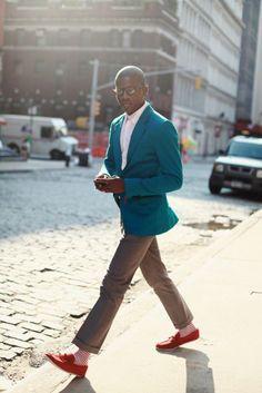Shop this look on Lookastic:  http://lookastic.com/men/looks/dress-shirt-blazer-dress-pants-socks-tassel-loafers/4468  — Pink Dress Shirt  — Teal Blazer  — Brown Dress Pants  — Red and White Horizontal Striped Socks  — Red Suede Tassel Loafers