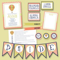 Hot Air Balloon Bridal Baby Shower Party Pack JPEG (Invitation, Cupcake Topper, Food Label, Bridal Game, Thank You, Banner, Drink Flags)