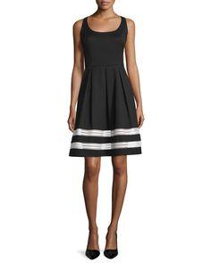 TBU6J Carmen Marc Valvo Sleeveless Fit & Flare Dress