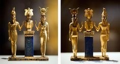 The family of Osiris. Osiris on a lapis lazuli pillar in the middle, flanked by Horus on the left and Isis on the right. Ancient Egyptian, 874-850 BC (22th Dynasty)
