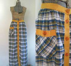 Plaid Seersucker Maxi Skirt Vintage 1960s by rileybellavintage, $35.00