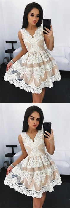 ivory lace homecoming dresses,simple tulle prom dress,cheap short party dresses with appliques,