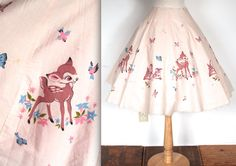 Rare Vintage 1950s Skirt // 50s Pink Bambi by TrueValueVintage