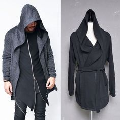 Belted Big Hood Taping Arm Cape Jacket-Cardigan 140 by Guylook.com