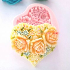 Heart Shape Flower Silicone Mold Soap Forms Molds Candy Chocolate Stencil Kitchen Baking Fondant Cake Decorating, wedding cake by ToonTopper.Etsy.com #soap #sweet #sugar #clay #fondant #caketopper #weddingcake