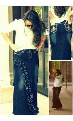 Classic Cute Long Modest Blue Denim Jean Skirt Ankle Floor length ...