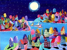 Whimsical Night Sailboats Houses Folk Art Painting