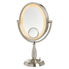 Jerdon - 10X Oval Lighted Table Top Mirror - Nickel