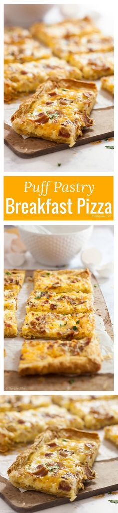 1/2 package Bacon. 10 Eggs. 1 Flour to sprinkle on your surface. 1 Salt and pepper. 1 package Puff pastry sheets, frozen. 1 cup Cheddar cheese. 1/2 cup Milk. 1 cup Mozzarella cheese.