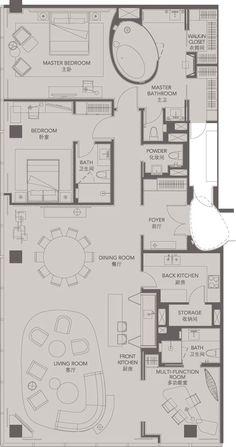 Standard Suites Unit C _ Four Seasons Place Pudong Apartment Plans, Apartment Interior, Design Hotel, Plan Design, Home Design, Hostels, Function Room, Room Planning, Architecture Plan