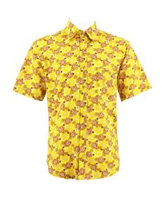 Loud Originals Regular Fit Short Sleeve Shirt - Yellow Floral Unique Mad Colourful Colorful