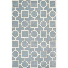 Safavieh Handmade Moroccan Chatham Blue/ Ivory Wool Rug (8' x 10') (CHT737B-8), Size 8' x 10' (Cotton, Geometric)