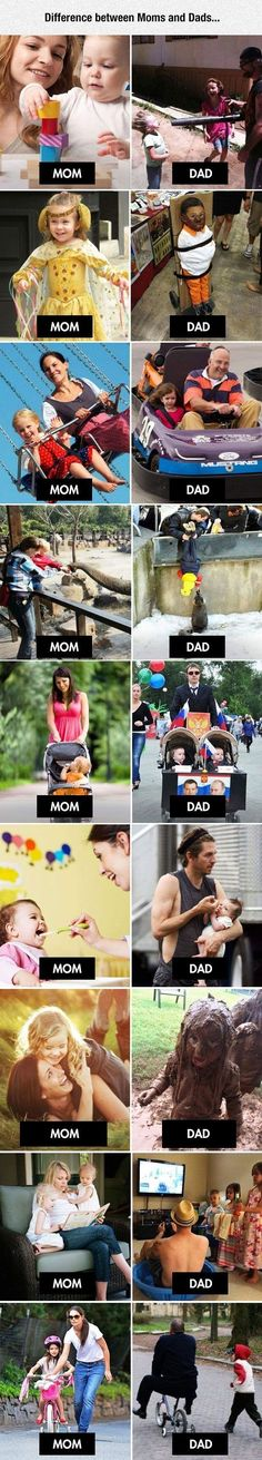 LoL!Difference Between Moms and Dads funny kids mom parents lol dad funny quote children parenting humor funny pictures funny kids funny images