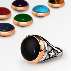 NEW Mens Ring Interchangeable Multi-Gemstone in 925 Sterling Silver Set all sz #Handmade #Statement