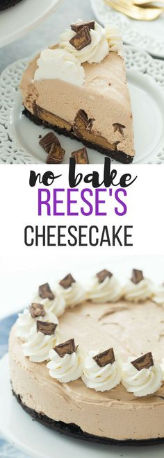 This No Bake Reese's Peanut Butter Cup Cheesecake is perfectly smooth and creamy, and so easy! It is the ultimate dessert for peanut butter and chocolate lovers! Includes how to recipe video | no bake cheesecake | no bake dessert | summer dessert | easy dessert | easy recipe