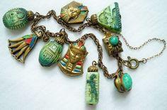 LOVELY VINTAGE ART DECO MAX NEIGER EGYPTIAN REVIVAL BRACELET