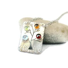 Mothers Jewelry - Family Tree Birthstone Necklace in Sterling Silver - 4 stones. $89.00, via Etsy.