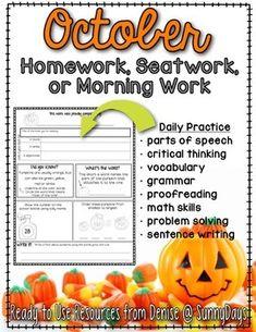 Homework, Seat Work, or Morning Work for October.