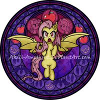 Stained Glass:Mlp princesses Flutterbat by Akili-Amethyst