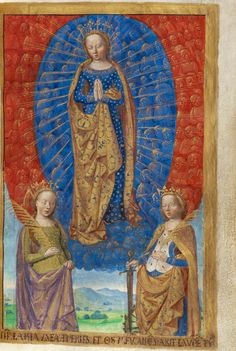 Master of the Chronique scandaleuse (French, active about 1493 - 1510)  Virgin in Cloud of Angels, with Saints Barbara and Catherine  From The Poncher Hours