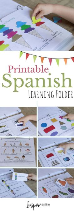 Printable Spanish Interactive Learning Folder - Inspire the Mom