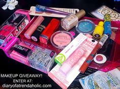 Enter to win a makeup bag full of cosmetics at diaryofatrendaholic.com