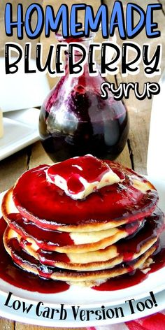 Have a breakfast like Grandma used to make with this easy homemade blueberry syrup recipe. Nothing beats homemade! Blueberry Syrup Recipe Easy, Keto Syrup Recipe, Blackberry Syrup Recipes, Fruit Recipes, Low Carb Recipes, Blueberry Sauce, Sauce Recipes, Healthy Pancake Syrup