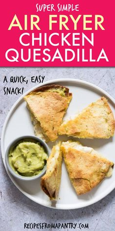 This Air Fryer Chicken Quesadilla recipe is SO quick and easy. Full of great Mexican flavors air fried chicken quesadillas are just the thing when you need a simple yet tasty lunch or a simple weekday dinner. Click through to get this awesome recipe! Air Fryer Recipes Vegan, Air Fryer Dinner Recipes, Appetizer Recipes, Appetizers, Ww Recipes, Mexican Food Recipes, Oven Recipes, Family Recipes, Vegetarian Recipes