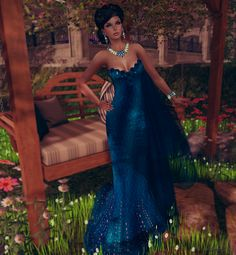 Virtual NightMare Styling: *GLITTER* GRACE ROSES GOWN BLUE FOR ALBERTA Glitter at The Courage Event for Canada: http://maps.secondlife.com/secondlife/Akh/88/159/1202