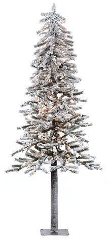 7' Flocked Alpine Artificial Christmas Tree with Clear Lights