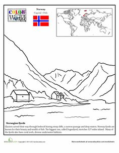 Second Grade Fourth Grade Geography Places Worksheets: Norway Coloring Page- also rosemaling craft and other activities Teaching Geography, World Geography, Geography Activities, Colouring Pages, Coloring Sheets, Coloring Books, Little Passports, Norway Viking, World Thinking Day