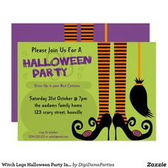 Witch Legs Halloween Party Invitation Template by The Digi Dame Parties on Zazzle www.zazzle.com/digidameparties*