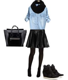 Okay... this outfit is so hot!  Leather has that affect on outfits.  It adds that little bit of classy sex appeal to any outfit.  We love how this cute leather mini is paired with denim and a wedged sneaker; the ultimate chic outfit for day or night!