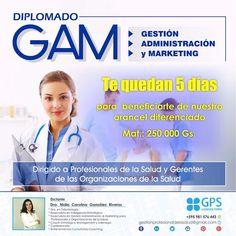 ¡¡INSCRÍBETE YA!!  ¡¡TENÉS 5 DÍAS PARA BENEFICIARTE DE NUESTROS ARANCELES DIFERENCIADOS!! DIPLOMADO GAM Gestión Administración y Marketing en Salud. ✅ Presencial-Asunción  ✅ Online, para cualquier parte del mundo ✅ Presencial-Ciudad del Este!! Pedí mas info: whatsApp +595 981 576 443 O escríbenos a correo: gestionprofesionaldelasalud@gmail.com