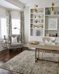 Home Office. Home Office Ideas. Home Office seating area. Home Office bookcase. Home office decor Sita Montgomery Interiors Home Office Space, Home Office Design, Home Office Decor, Home Decor Bedroom, Office Designs, Room Decor, Cozy Home Office, Bedroom Rustic, Interior Office