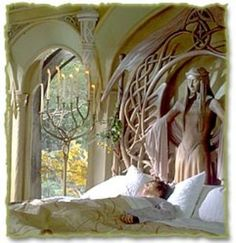 I have always loved this bed from Lord of the Rings. A bit epic in scale for my house, but I love it all the same.