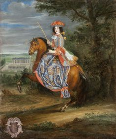 Madame la Duchesse de Bouillon, from a series of French court ladies, all by Joseph Parrocel, circa French History, Art History, Ludwig Xiv, Riding Habit, Horse Riding Clothes, Historical Art, Equine Art, Horse Art, Joseph