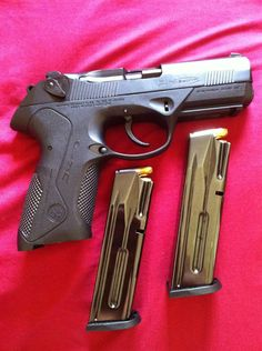 Beretta PX4 Storm  A polymer pistol designed and sold by Beretta, it is chambered in 9mm, .40 S and .45 ACP. The polymer frame has reinforcements for added strength, probably a subtle nod to Glock's blowing up due to owners shooting hand loaded ammo. Not really a fan of the lines of this gun, I would take the older Beretta 92FS over this in a heartbeat.